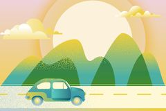 Car driving along mountain road, illustration. Automobile travel, trip concept. Outdoor tourism and travel. Royalty Free Illustration
