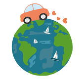 Car driving around earth with love cute funny cartoon illustration Royalty Free Stock Photography