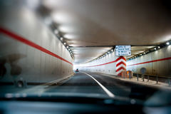 Car driving in Bucharest tunnel Stock Images