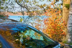 A car driving at the coast of a lake with autumn trees and blue water on a background. stock image