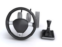 Car driving controls. Steering wheel and gear stick, along with throttle, brake and clutch pedals on the white background (3d render&#x29 Royalty Free Stock Photo