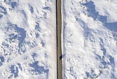Aerial icy road Royalty Free Stock Photography