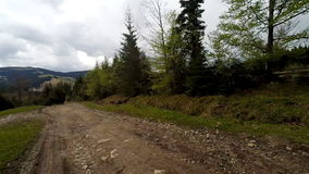 Car driving through the countryside in the mountains. stock video footage