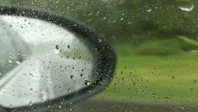 A car driving on expressway in bad weather stock video footage