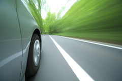 Car driving fast into forest. Royalty Free Stock Photography