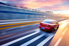 Car driving on freeway, motion blur Royalty Free Stock Images