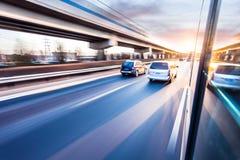 Car driving on freeway, motion blur Royalty Free Stock Image