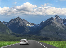 Car is driving on the high-speed highway. stock photos