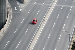 A car driving on highway royalty free stock photo