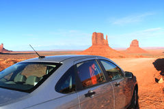 Car driving in Monument Valley Royalty Free Stock Image