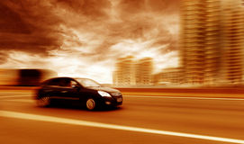 Car driving on a motorway Stock Images
