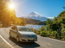 Car driving near Mt Fuji in Japan with motion blur royalty free stock image