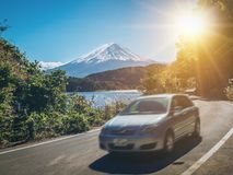 Car driving near Mt Fuji in Japan with motion blur royalty free stock photo