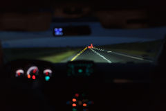 Car driving at night Royalty Free Stock Images