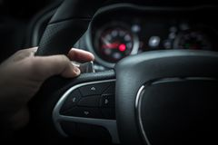 Car Driving with Paddle Shifter Stock Image