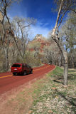 Car driving on road. Through the zion national park.Utah, U.S.A stock photos