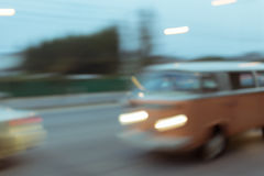 Car driving on road with traffic jam in the city Royalty Free Stock Photography