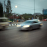 Car driving on road with traffic jam in the city Royalty Free Stock Photos