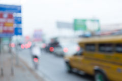 Car driving on road with traffic jam in the city Stock Photo
