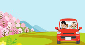 Car Driving in Spring nature, Young Family  - Front view Royalty Free Stock Image