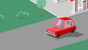 Car is driving in the street. Art illustration vector illustration