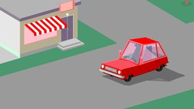 Car is driving in the street. Art illustration royalty free illustration