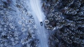 Free Car Driving Through The Winter Snowy Forest On Country Road At Night. Top Down View. Stock Photo - 164465890