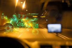 Car driving through tunnel. interface,Infographic elements. Car driving through tunnel highway tunnel at night.car HUD dashboard. Futuristic user interface HUD Royalty Free Stock Photo