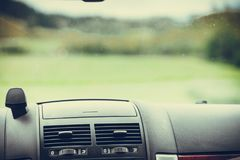 Car driving, view from inside on dashboard. And window. Traveling using vehicles concept Royalty Free Stock Photo