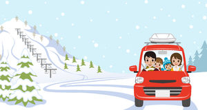 Car Driving in Winter nature, Young Family  - Front view Stock Photos