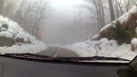 Car driving through winter weather conditions stock video footage