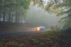 Car drivinig on a country asphalt road passing through the fores royalty free stock photos