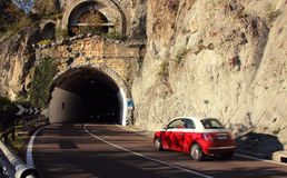 The car drove at speed. Into the tunnel royalty free stock photos