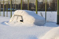 Car drowned in snow. Drift Royalty Free Stock Images