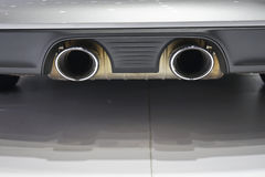 Car dual exhaust pipe. Close up Car dual exhaust pipe Royalty Free Stock Photos