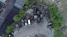 Car Dump. Aerial Above View stock footage