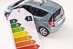 Car and efficiency label Stock Image