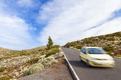 Car on el teide road Royalty Free Stock Images