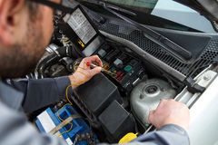 Car electric repair. Repair of electrical wiring in the car Royalty Free Stock Images