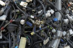 Car electric wiring set. Wiring for the car. wires, chips stock photos