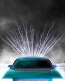 Car electricity. A 3d rendered car top with electricity. Included several clipping path: whole car, car paint and for transparent parts. With these clipping stock illustration