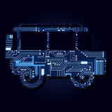 Car 4x4 with electronic circuit. Car 4x4 with a technological electronics circuit royalty free illustration