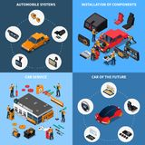 Car Electronics Concept Icons Set. With car of the future symbols isometric isolated vector illustration Royalty Free Stock Image