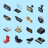 Car Electronics Icons Set. With stereo  symbols on blue background isometric isolated vector illustration Stock Photo