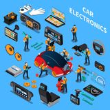 Car Electronics And Service Concept. With air conditioning and stereo symbols on blue background isometric vector illustration Stock Photo