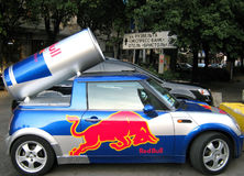 The car with an emblem red bull. On the Yalta Prime Rally Stock Image