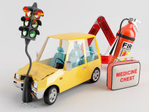 Car and Emergency Kit. Car emergency kit that can be very useful in the crash occurred Royalty Free Stock Photos