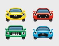 Car emoticon, car face smiles icons set. Car emoticon, colorful expressive funny car face character, smiles icons set Royalty Free Stock Photos