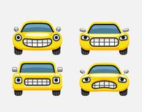 Car emoticon yellow smiles. Car emoticon smiles icons set, expressive funny car face character, vector illustration Stock Images
