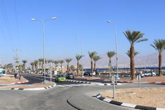Car enetering a roundabout in Eilat, Israel Royalty Free Stock Images